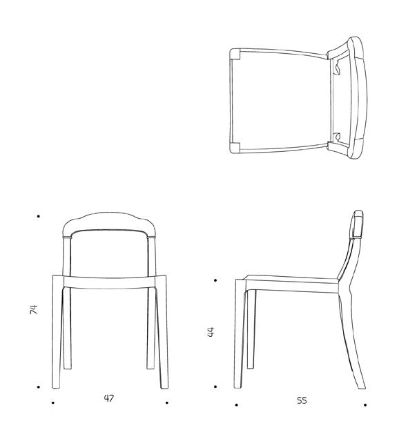 ขนาดเก้าอี้ ไม้โอ๊ค Boccoli