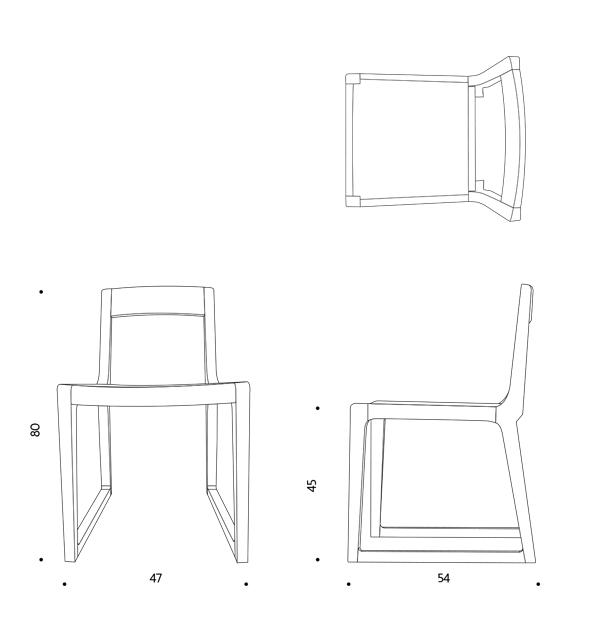 ขนาดเก้าอี้ ไม้โอ๊ค Hic chair